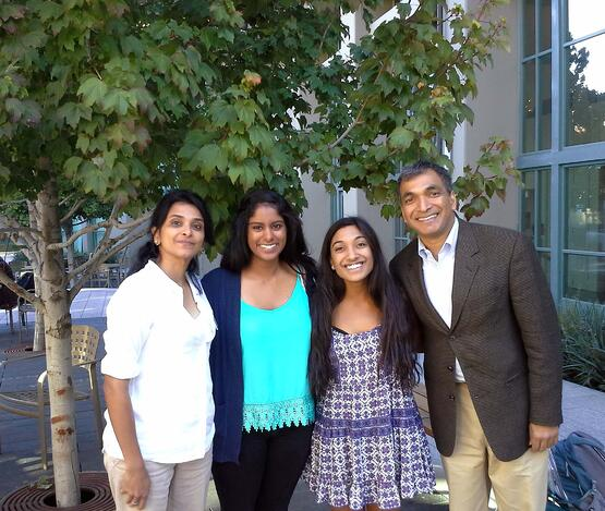 A Cal education spans generations for Berkeley EMBA students Jay Srinivasan (L.) and Sandeep Garg (R.) and their respective daughters, Puja and Jasmine