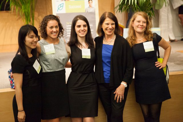 Ryann Kopacki, (2nd from l.) MBA 16, one of the women who make up the Berkeley MBA class of 2016--with classmates and Haas alumna and Citibank CEO Barbara Desoer