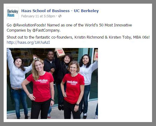 Revolution Foods Co-Founders and Berkeley MBA alums Kirsten Saenz Tobey and Kristin Groos Richmond