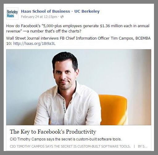 Facebook CIO and Berkeley EMBA alum Tim Campos