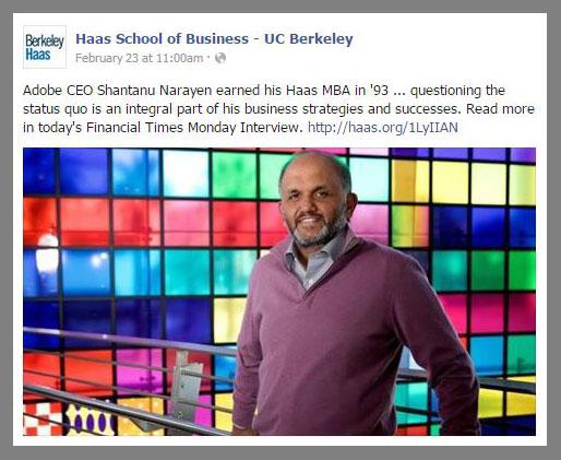 Adobe CEO and Berkeley Evening & Weekend MBA alum Shantanu Narayen