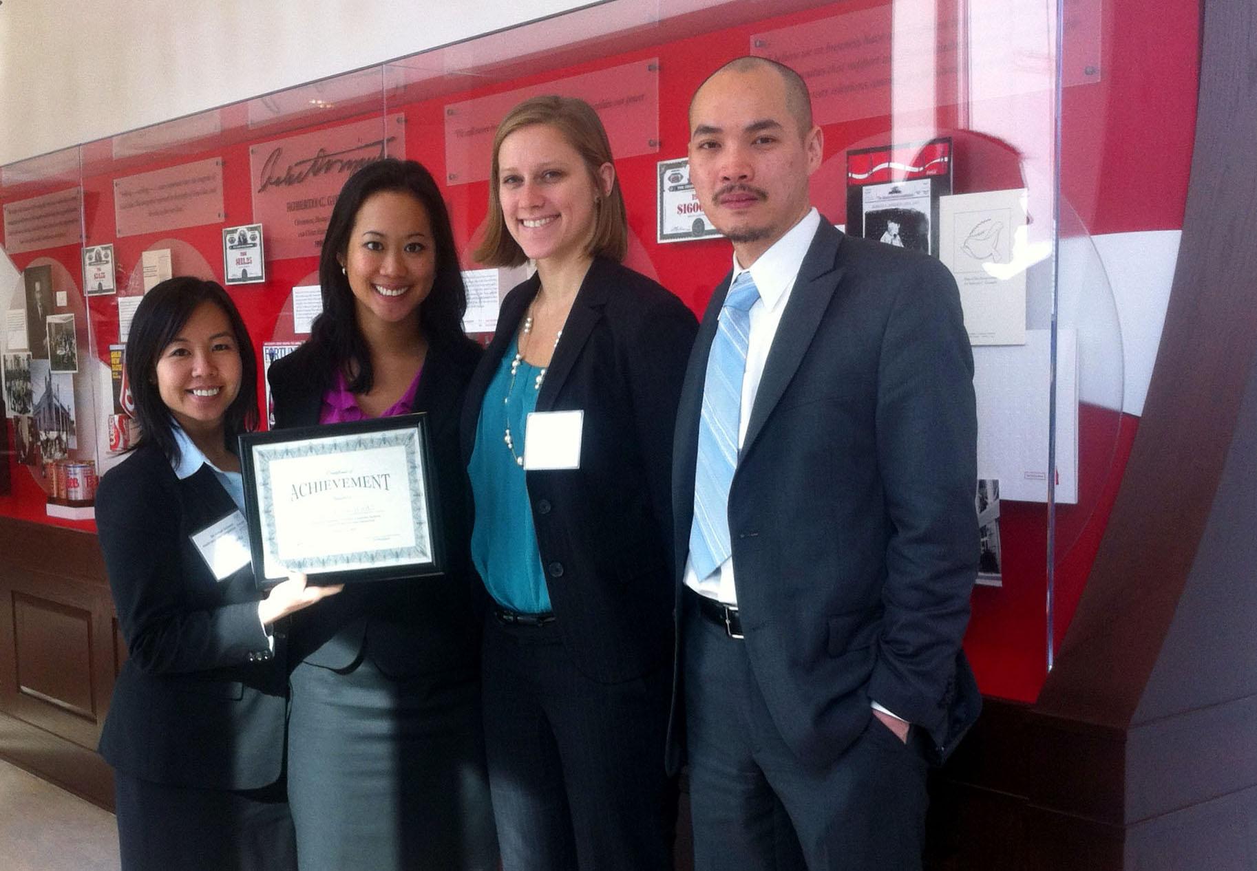 Second Place in Emory Healthcare Competition: Felice Espiritu, Christine Chu, Alana Tucker, and Alex Leung.