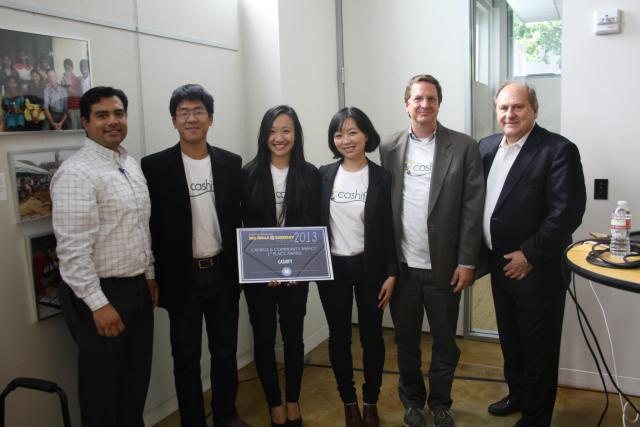 From left to right: Judge Andrik Cardenas of the Center for Nonprofit and Public Leadership; Haas Undergrads and Cashify team members Justin Chu, Shuonan Chen, and Virginia Chung; Team Mentor David Williams, assistant director, UCB's Financial Aid and Scholarships Office; and Judge Andrew Rudd, chair of the Rudd Family Foundation.