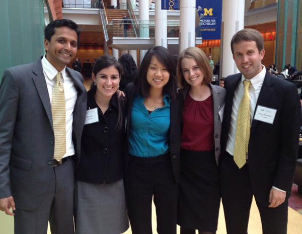 Energy Winners: Evening-and-weekend student Mayhul Jain, MBA 15, and Bari Wien, Sherry Wu. Jessica Hovick, and Aaron Beaudette, all MBA 15.