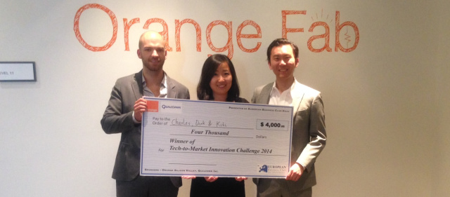 Dirk de Wit, Kiki Liu, and Charles Guo (left to right), winners of the Tech-to-Market Innovation Challenge