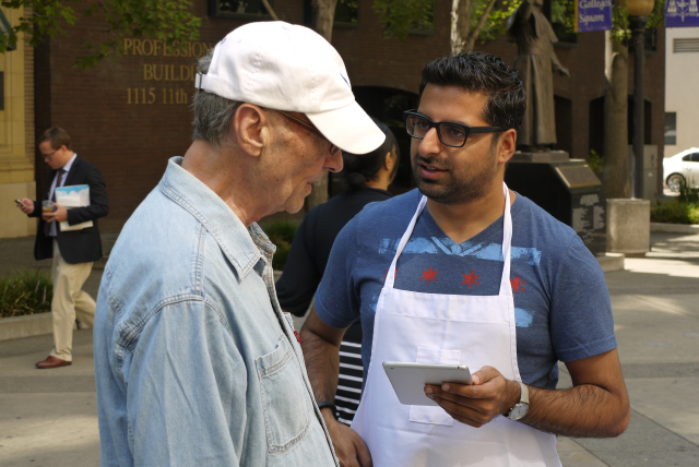 Man on the street: Sandeep conducts ethnographic research for a consumer packaged goods IDEO client.