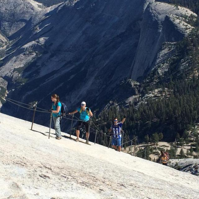 Ryann and classmates climbing Half Dome on an MBA camping trip last weekend.