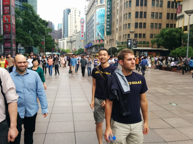 Berkeley-Haas students explore Shanghai's Nan Jing Road during an International Business Development consulting project.