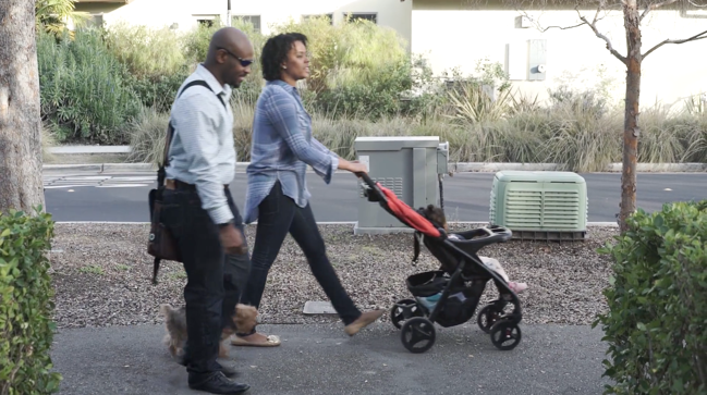Corey Weathers and family out for a walk