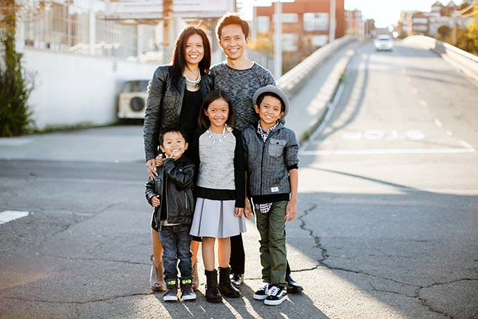 Berkeley MBA for Executives grad Alphonsus Cheng with wife Emma and family