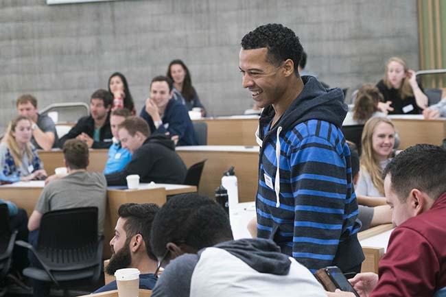 Evening & Weekend Berkeley MBA student in class