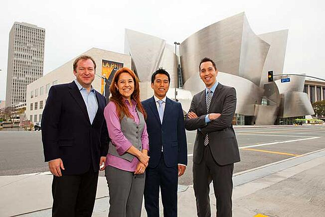 L.A.-based students from the Evening & Weekend Berkeley MBA Program in front of Disney Concert Hall