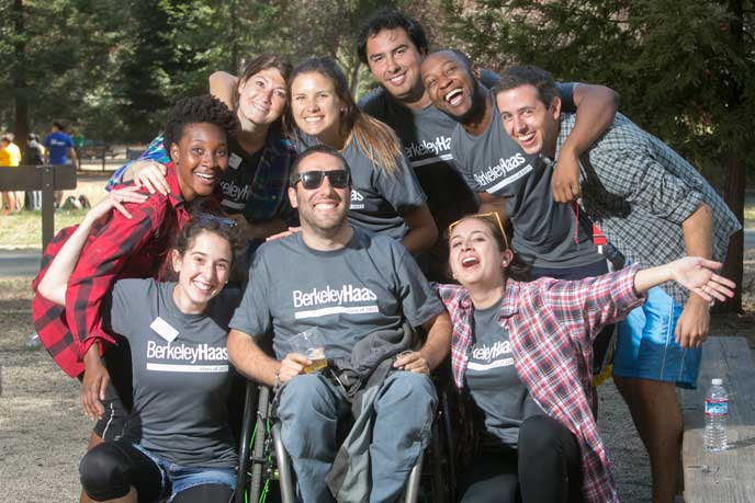 Berkeley MBA students during orientation's cohort olympics