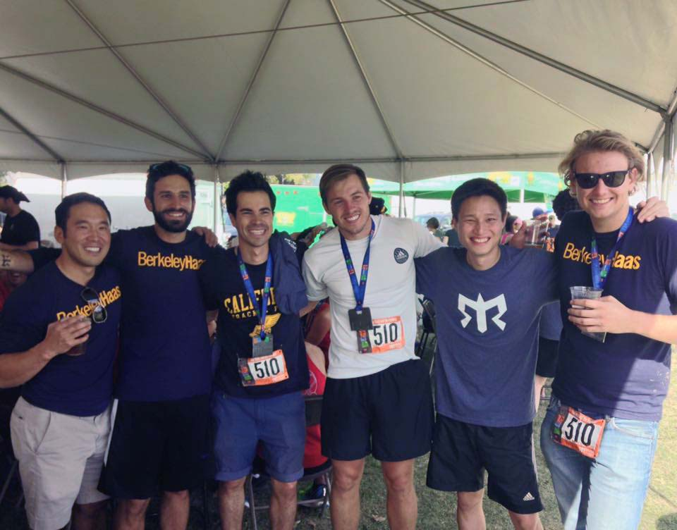 Berkeley MBA student Aurelio Martinze Kalifa (2nd from left) with his Ragnar Race team)