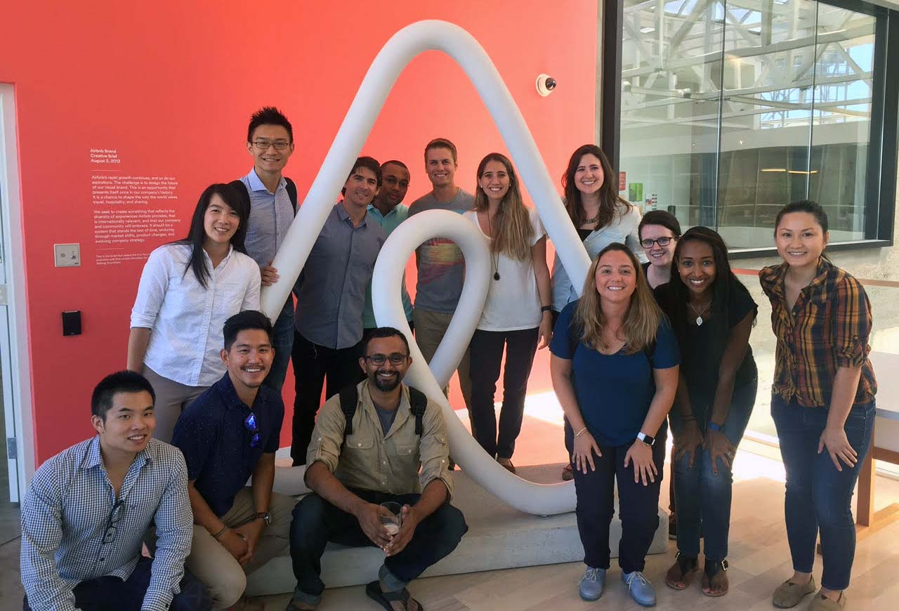 Mario Siewart (center) and the Haas Marketing Club visit Airbnb