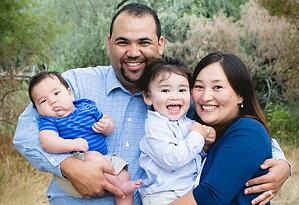 Full-time MBA grad George James and family