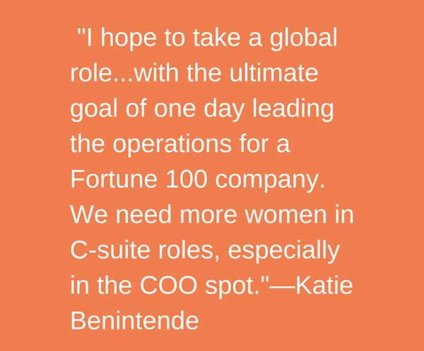 Berkeley MBA student Katie Benintende hopes to one day lead operations for a Fortune 100 company.