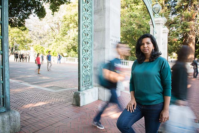 Berkeley MBA student Swetha Tupelly at Sather Gate