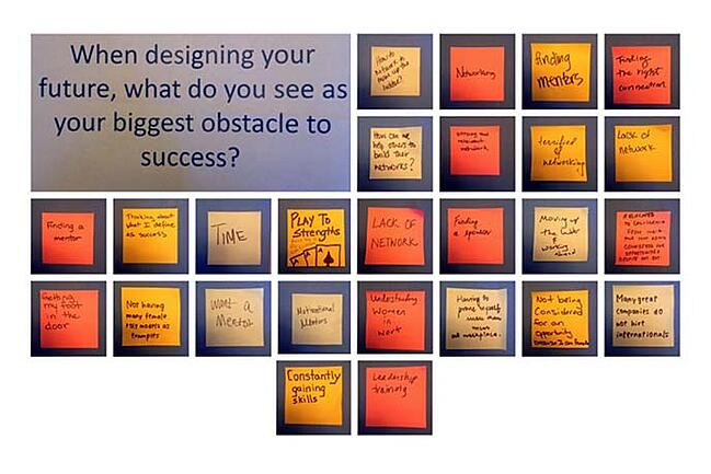 A brainstorming board from the Berkeley-Haas Women in Leadership Conference