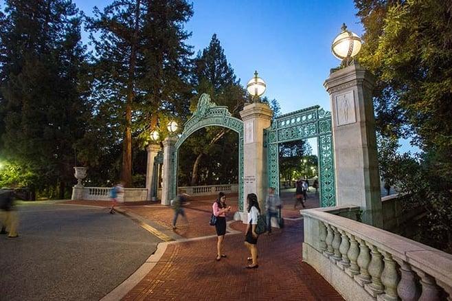UC Berkeley's Sather Gate at Twilight