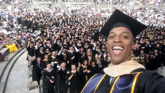 MBA commencement 2016 student speaker Kendrick Vaugn and friends