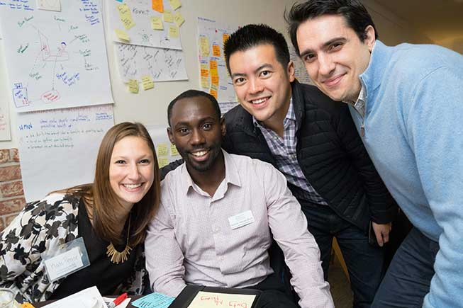 A team of students from the Berkeley Evening & Weekend MBA Program at the mid-program academic retreat